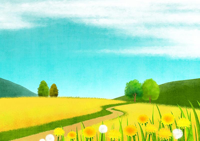 自然,背景,草原,风景,草,春天,植物,天空,通路,树