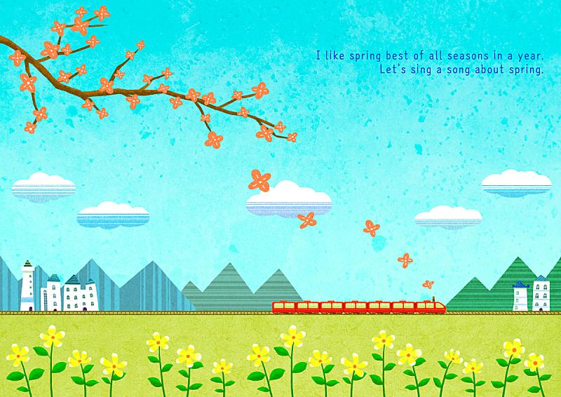 春天,绘画插图,自然,季节,风景,铁轨轨道,植物,背景,花,树