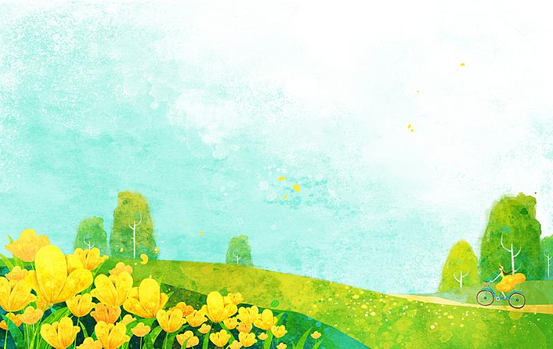绘画插图,四季,春天,插图画法,自然,季节,草原,风景,植物,花