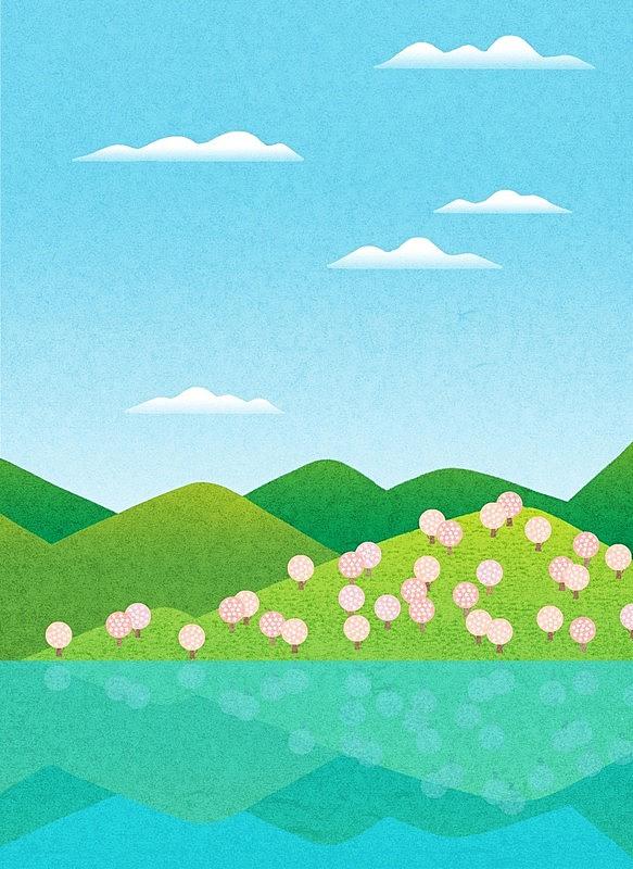 山,自然,河流,背景,春天,概念,化妆舞会服,地形,花,树