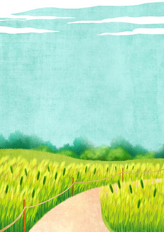 季节,背景,芦苇,自然,植物,散步道,风景,天空,绘画插图,柔和色