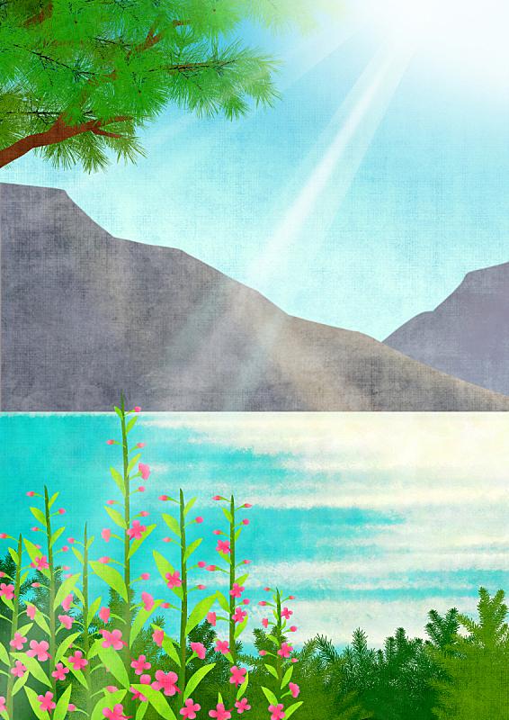 自然,背景,植物,河流,风景,天空,绘画插图,山,花,树