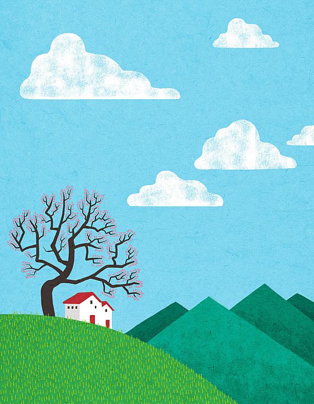 季节,房屋,天空,春天,概念,地形,开垦地,草坪,草原,树