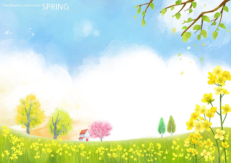 季节,绘画插图,自然,水彩画颜料,叶子,春天,植物,背景,花,树