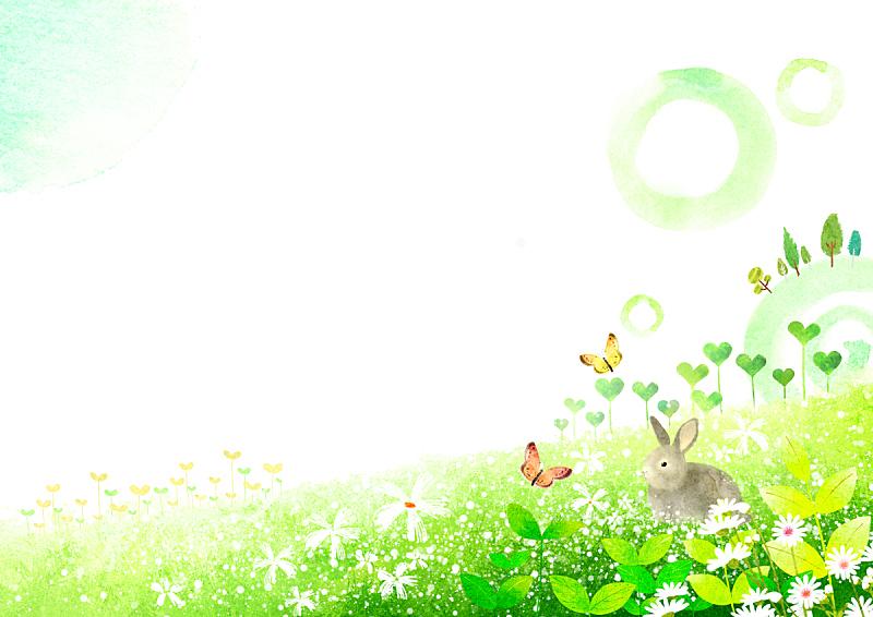 绘画插图,水彩画,自然,季节,水彩画颜料,草原,植物,背景,花坛,花