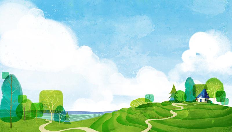 风景插画,自然,房屋,风景,春天,植物,背景,夏天,通路,树