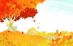 绘画插图,四季,插图画法,秋天,枫树,背景,季节,自然,风景,树
