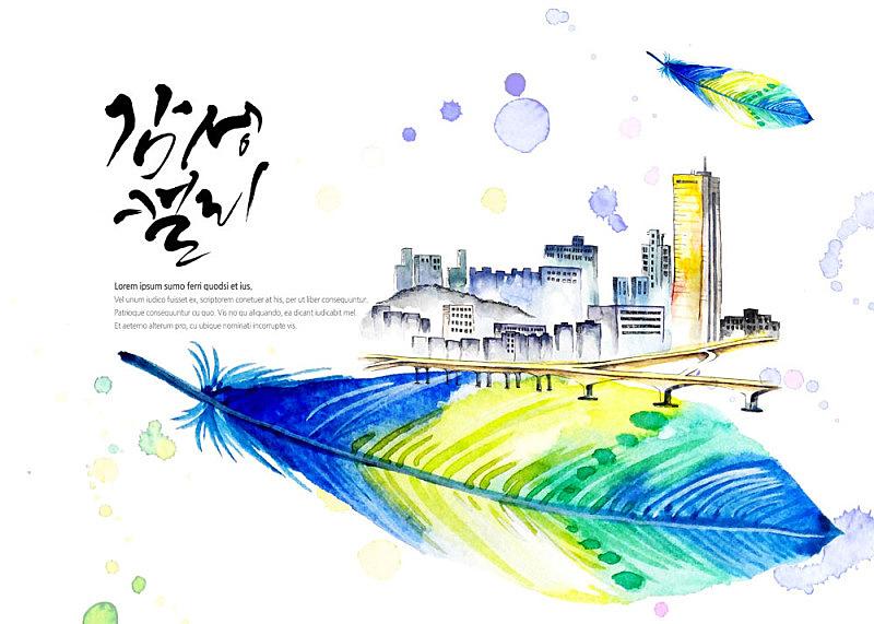 插画,水彩画,旅游目的地,插图画法,绘画插图,城市,书法,地形,笔触,背景