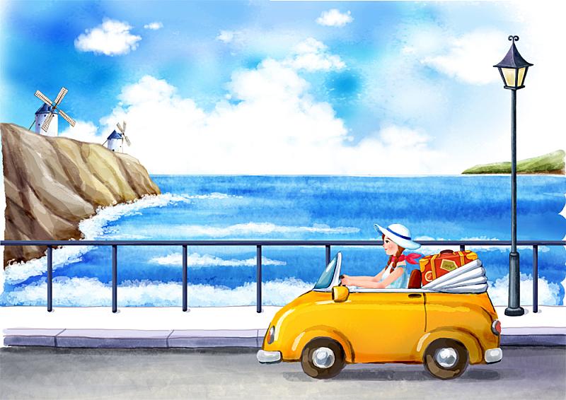 插画,旅游目的地,女孩,绘画插图,插图画法,自驾游,路,旅行,旅游,驾车