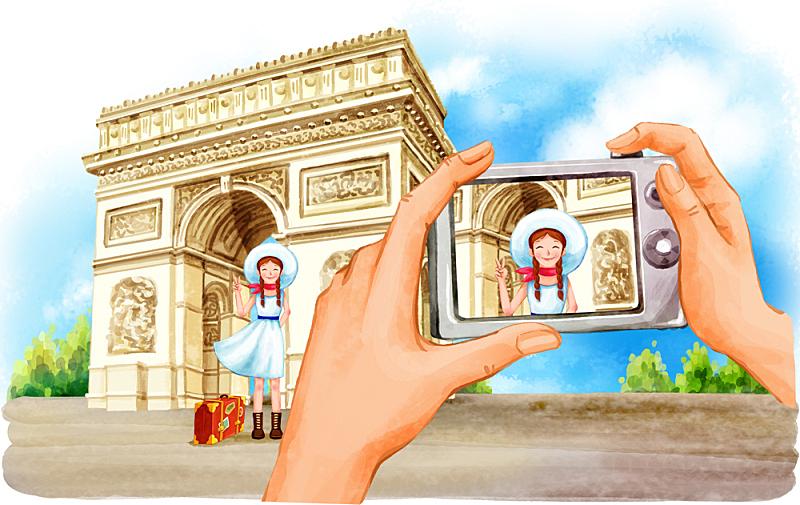 插画,旅游目的地,女孩,插图画法,绘画插图,手,相机,朝鲜民族,青年人,拍照