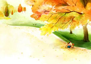 风景插画,自然美,绘画插图,插图画法,插画,成年的,女人,户外,秋天