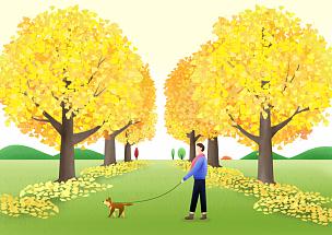 秋天,色彩鲜艳,风景插画,成年的,男人,户外,自然,风景,宠物,放松