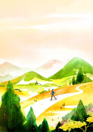风景插画,自然美,十一月,绘画插图,插图画法,插画,成年的,男人,户外