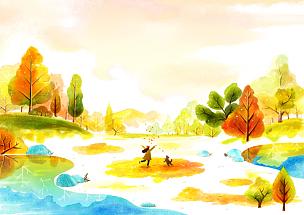 风景插画,自然美,十一月,绘画插图,插图画法,插画,成年的,女人,户外