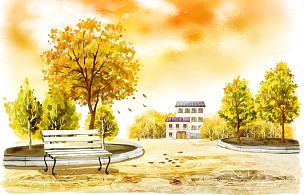 秋天,风景,长椅,城市,绘画插图,插图画法,插画,自然,季节,建筑外部