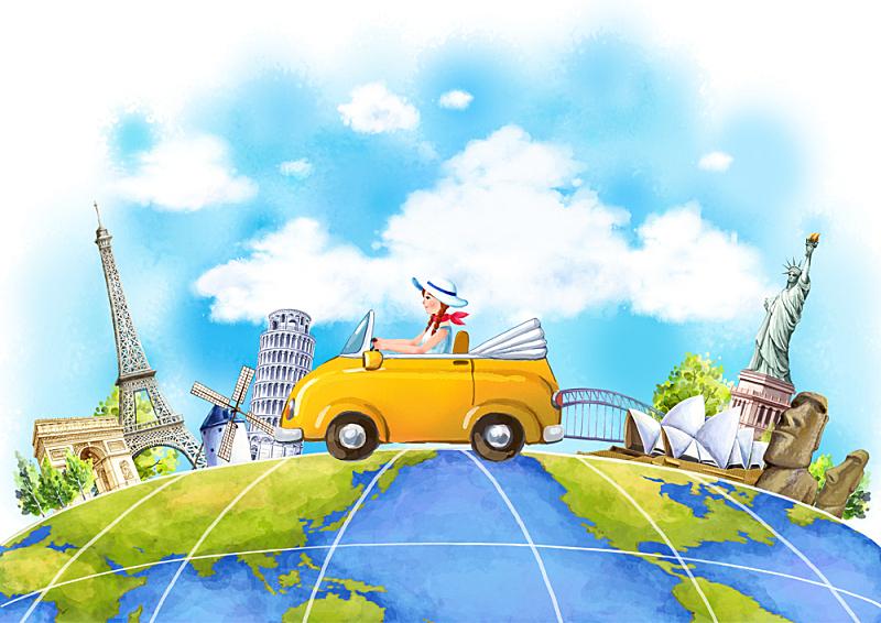 插画,旅游目的地,女孩,插图画法,绘画插图,地球,旅行,探险,旅游