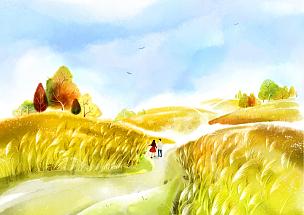 风景插画,自然美,绘画插图,插图画法,插画,成年的,男人,女人,两个人