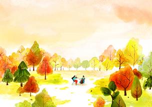 风景插画,自然美,成年的,音乐人,女人,两个人,户外,白昼,日落