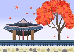 秋天,色彩鲜艳,风景插画,户外,传统,自然,风景,叶子,天空,树