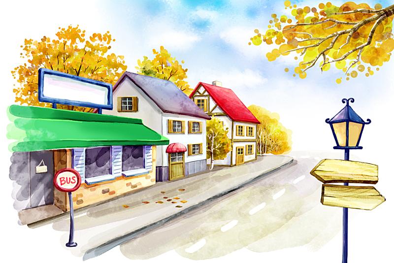 秋天,风景,绘画插图,插图画法,插画,城市,房屋,植物,自然,无人
