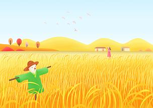 秋天,色彩鲜艳,风景插画,成年的,女人,户外,自然,风景,站,树