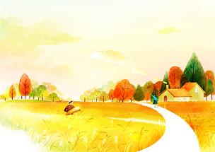 风景插画,自然美,田地,插图画法,绘画插图,插画,农民,农场,十一月