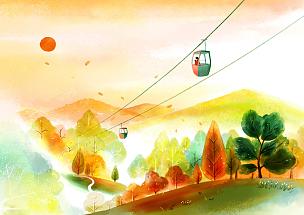 风景插画,自然美,水彩画,绘画插图,人,插图画法,插画,成年的,女人