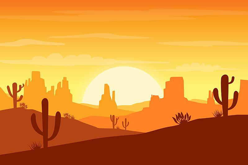沙漠,仙人掌,山,背景,卡通,插图画法,绘画插图,插画,自然荒野区,日落
