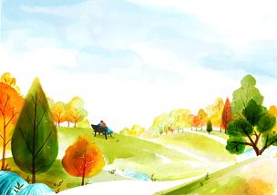 风景插画,自然美,插图画法,路,绘画插图,插画,山,四季,人