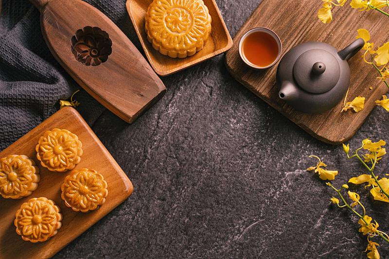 概念,传统,中秋节,食品,月饼,桌子,石片,黑色背景,茶,花