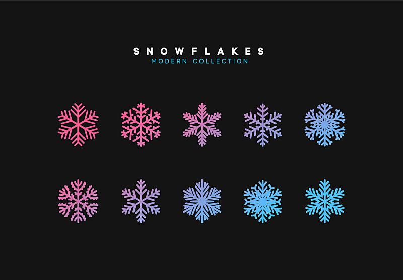 雪花,矢量,华丽的,圣诞装饰物,全息图,乱画,色彩渐变,红色,季节,高雅