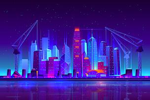 建筑业,城市,夜晚,霓虹灯,起重机,商务,波兰,现代,著名景点,城市扩张