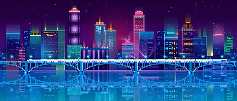 背景,城市,夜晚,矢量,霓虹灯,商务,暗色,长的,模板,现代