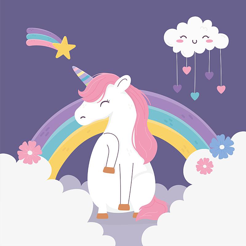 云,卡通,可爱的,幻想,彩虹,独角兽,动物心脏,星迹,做梦