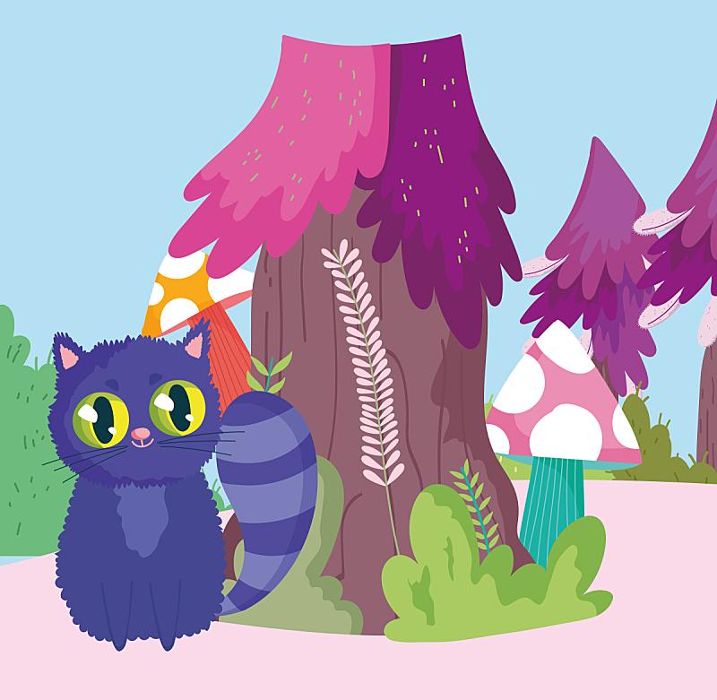 猫,卡通,蘑菇,自然,树