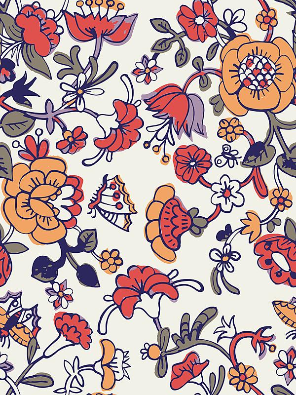 卡通,可爱的,四方连续纹样,花