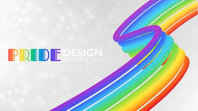 模板,彩虹,三维图形,矢量,骄傲,绘画插图,留白,抽象,庆祝