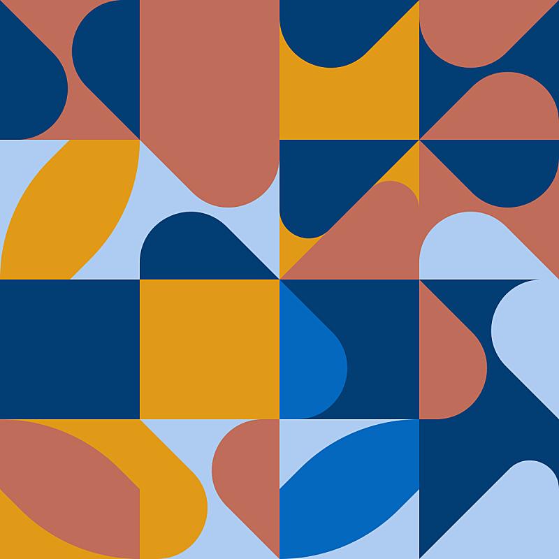 几何形状,极简构图,矢量,式样,蓝色,调色板,活力,华丽的,对称,纺织品