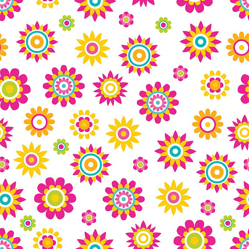 四方连续纹样,矢量,卡通,春天,背景分离,浪漫,复古风格,现代,花