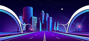 夜晚,矢量,背景,城市,霓虹灯,暗色,公路,现代,河流,户外