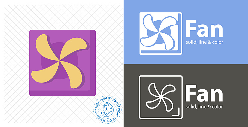 图标,电扇,线图标,平坦的,商务,热,计算机,汽车,风