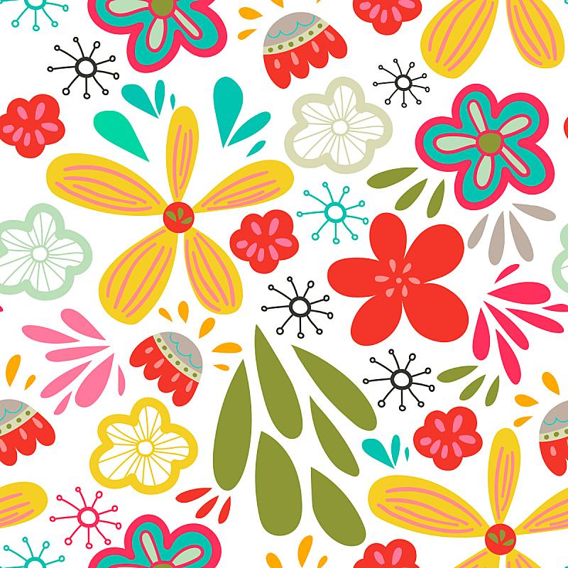 乱画,绘画插图,四方连续纹样,背景,花,矢量,抽象,多色的,花