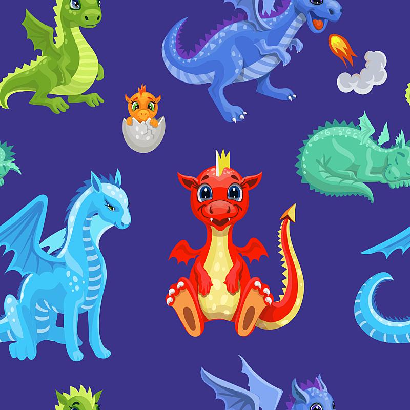 可爱的,四方连续纹样,恐龙,火,龙,纺织品,已灭绝生物,复古风格,动物,鸡蛋