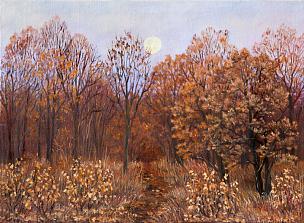 秋天,叶子,小路,地形,森林,画布,动物手,黄昏,绘制