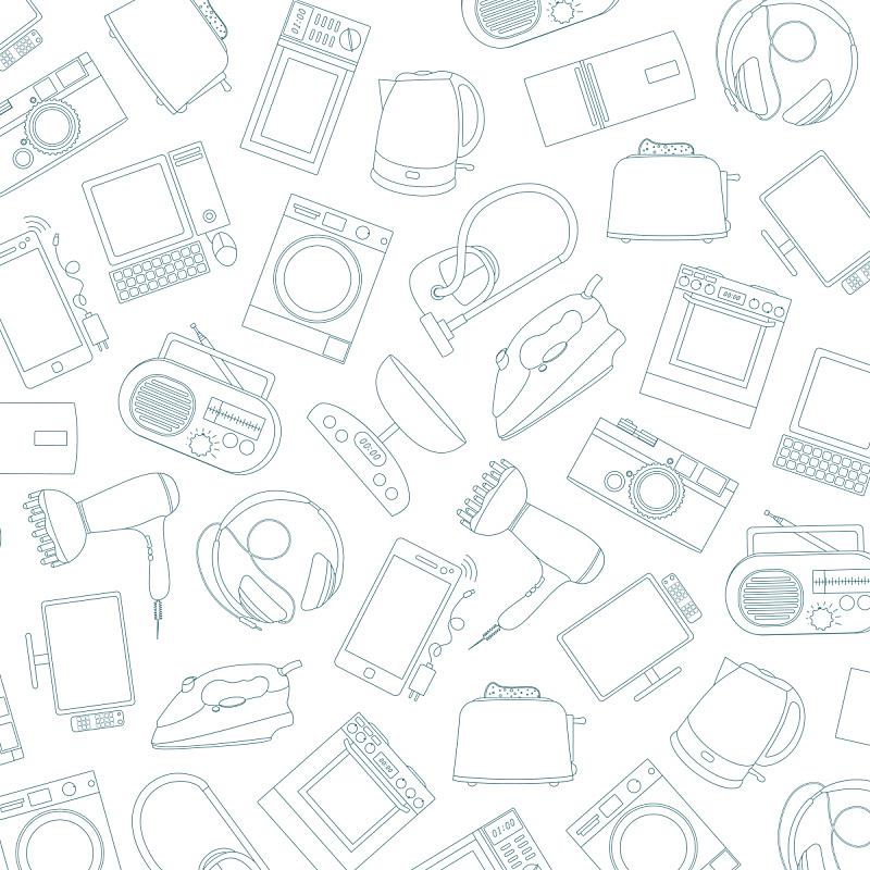 用具,白色背景,住宅内部,分离着色,电子商店,微波炉,真空吸尘器,搅拌机,冰箱,烹调