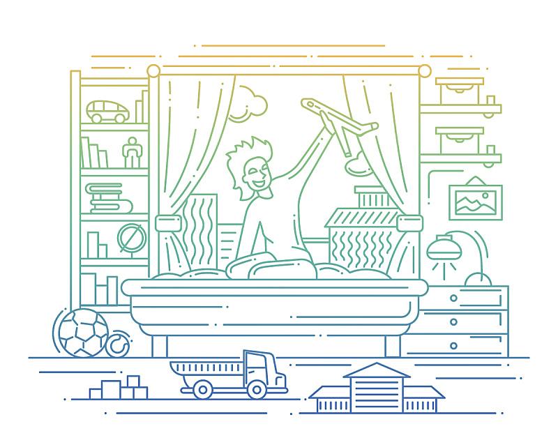 线条,男孩,绘画插图,进行中,住宅房间,球体,休闲游戏,部分,球,运动