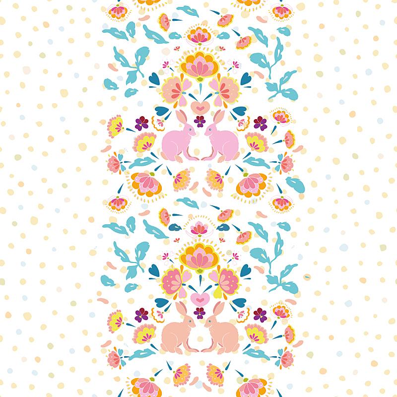 波西米亚风,工艺品,国境线,复活节兔子,矢量,彩色蜡笔,传统,复活节,纺织品,边框