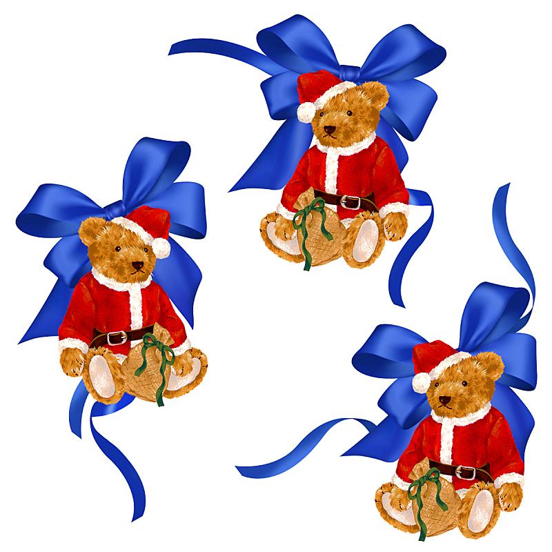 圣诞老人,熊,缎带,绘画插图,状态描述,蝴蝶结,艺术品,圣诞礼物,图像