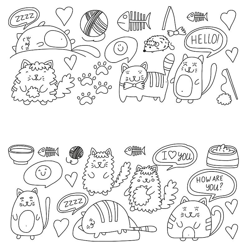 纺织品,猫,矢量,可爱的,小猫,乱画,式样,宠物商店,儿童