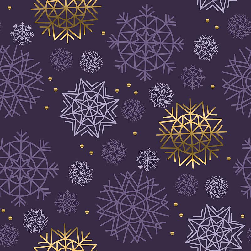 雪花,四方连续纹样,彩色背景,墨水,黄金,纹理效果,暗色,纺织品,华贵